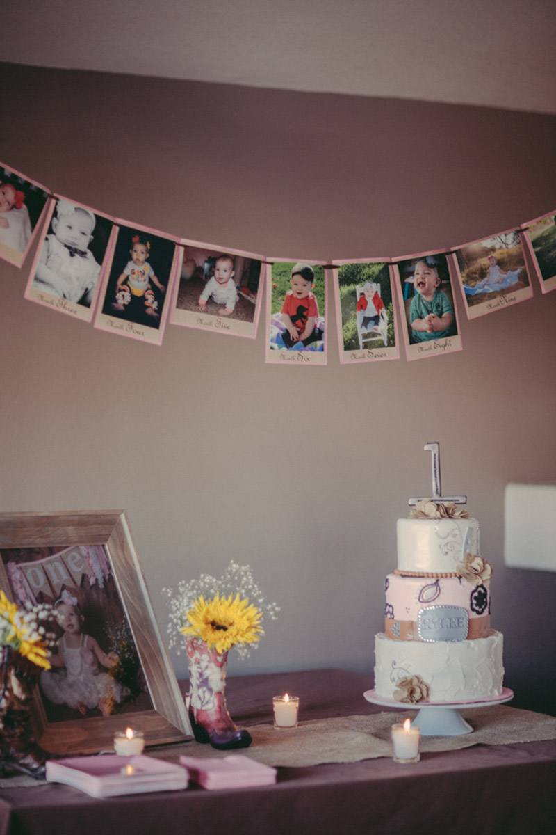 DIY Cake table at babies first birthday