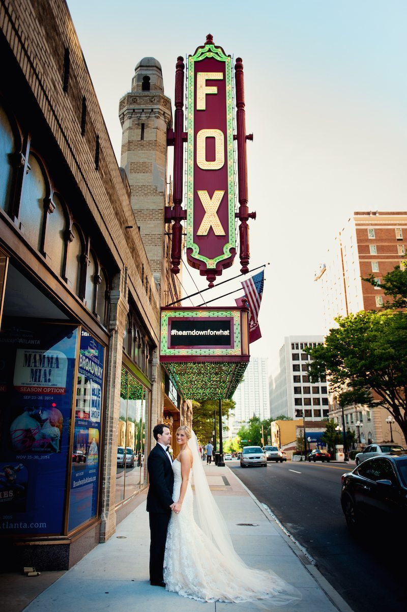 FoxTheatreWeddingCoupleVenueFirstLook