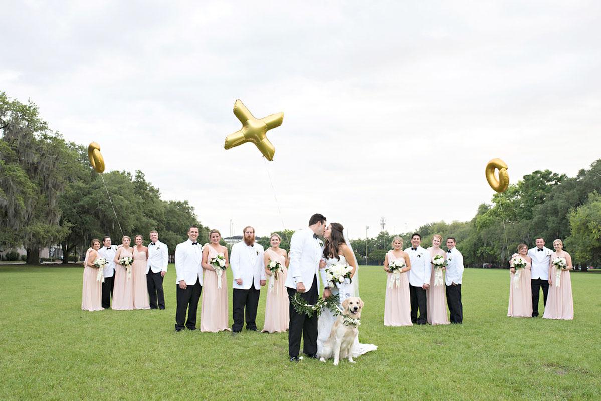 bridal party at an outdoor park wedding