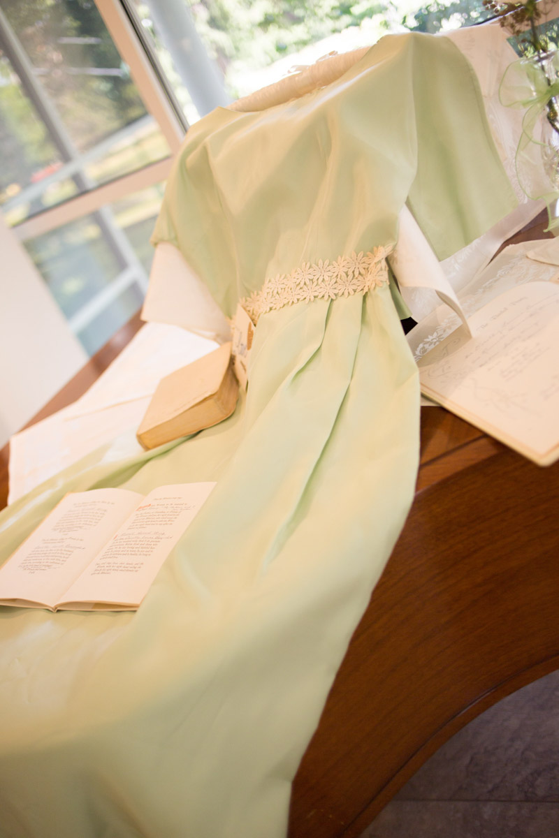 bridesmaid dresses on display at anniversary party