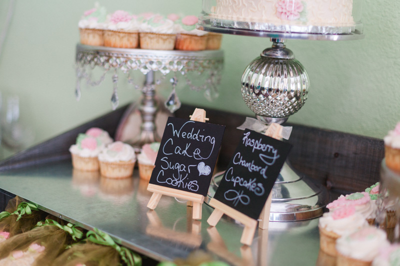 chalkboard signs at a dessert table at a bridal party