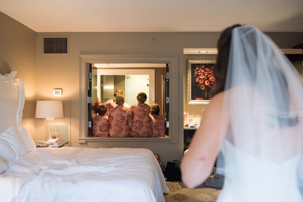 first look with bridesmaids