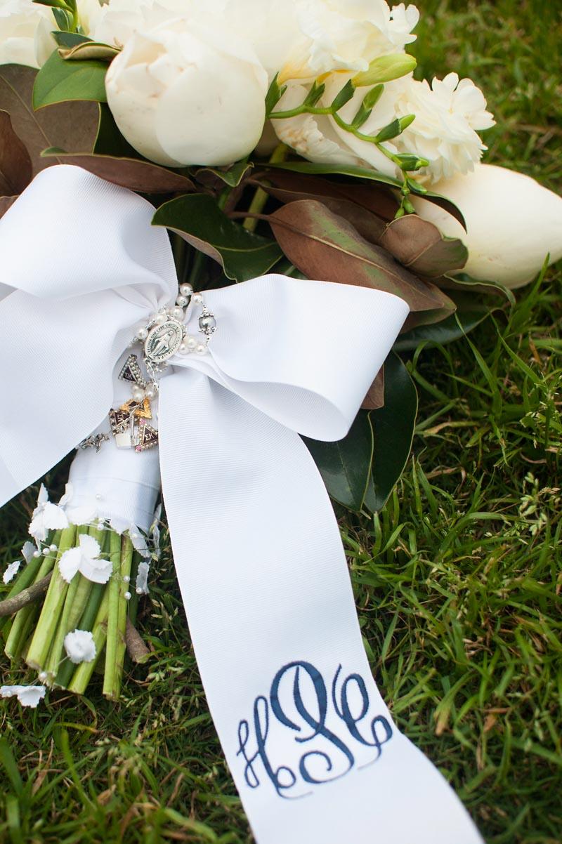 monogrammed flower ribbon