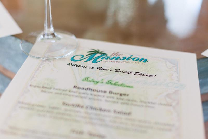 personalized bridal party menu
