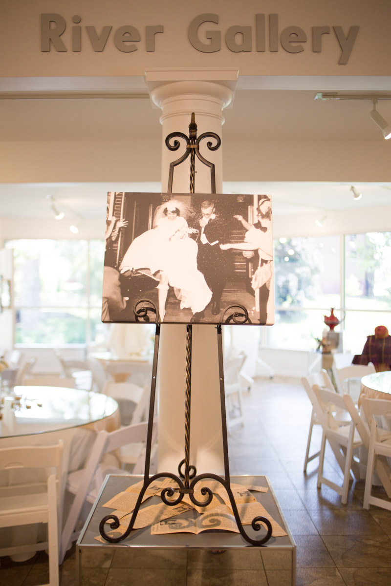 photo of couple on their wedding day displayed at anniversary party