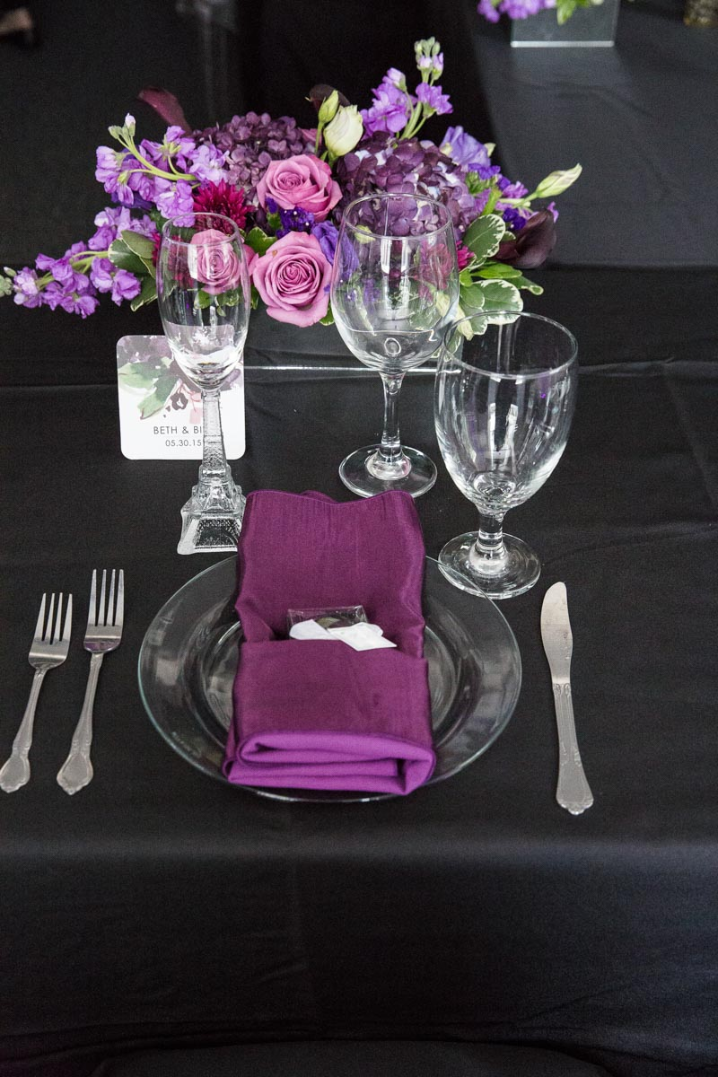 purple and black wedding table setting - The Celebration Society
