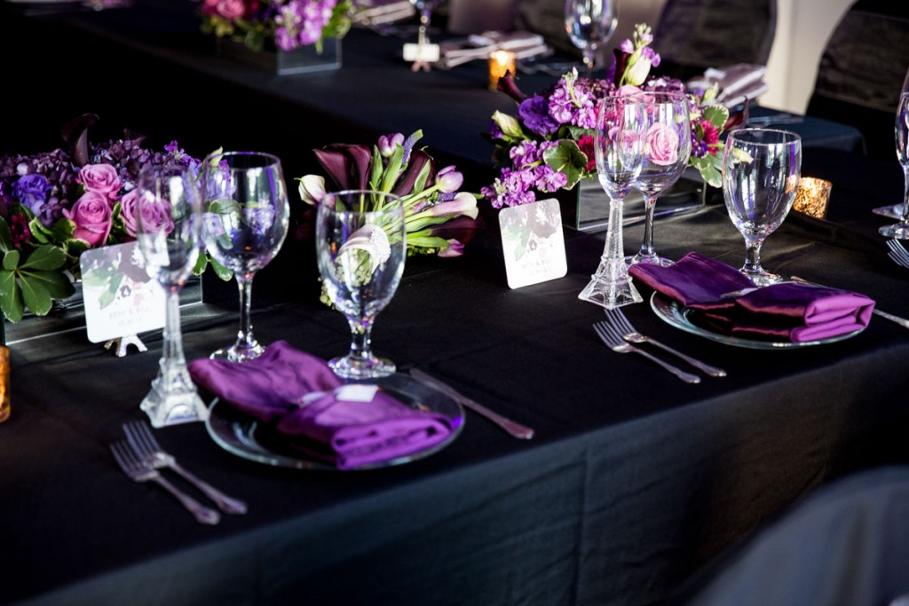 Purple And Black Wedding Table Setting The Celebration