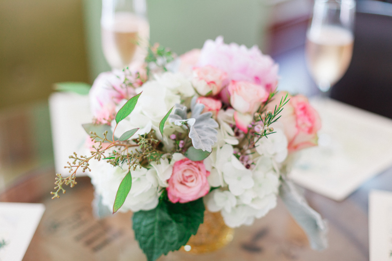 small bouquet of roses hydrangeas and greens