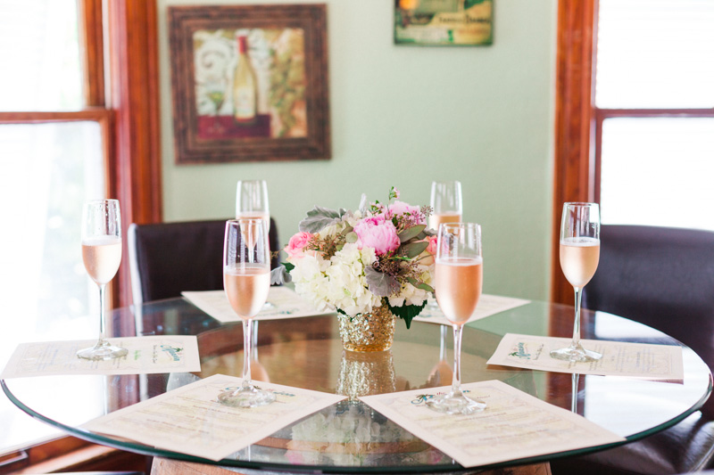 table setting with champagne at a bridal party