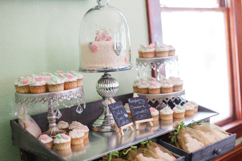 tablel of desserts at a bridal party