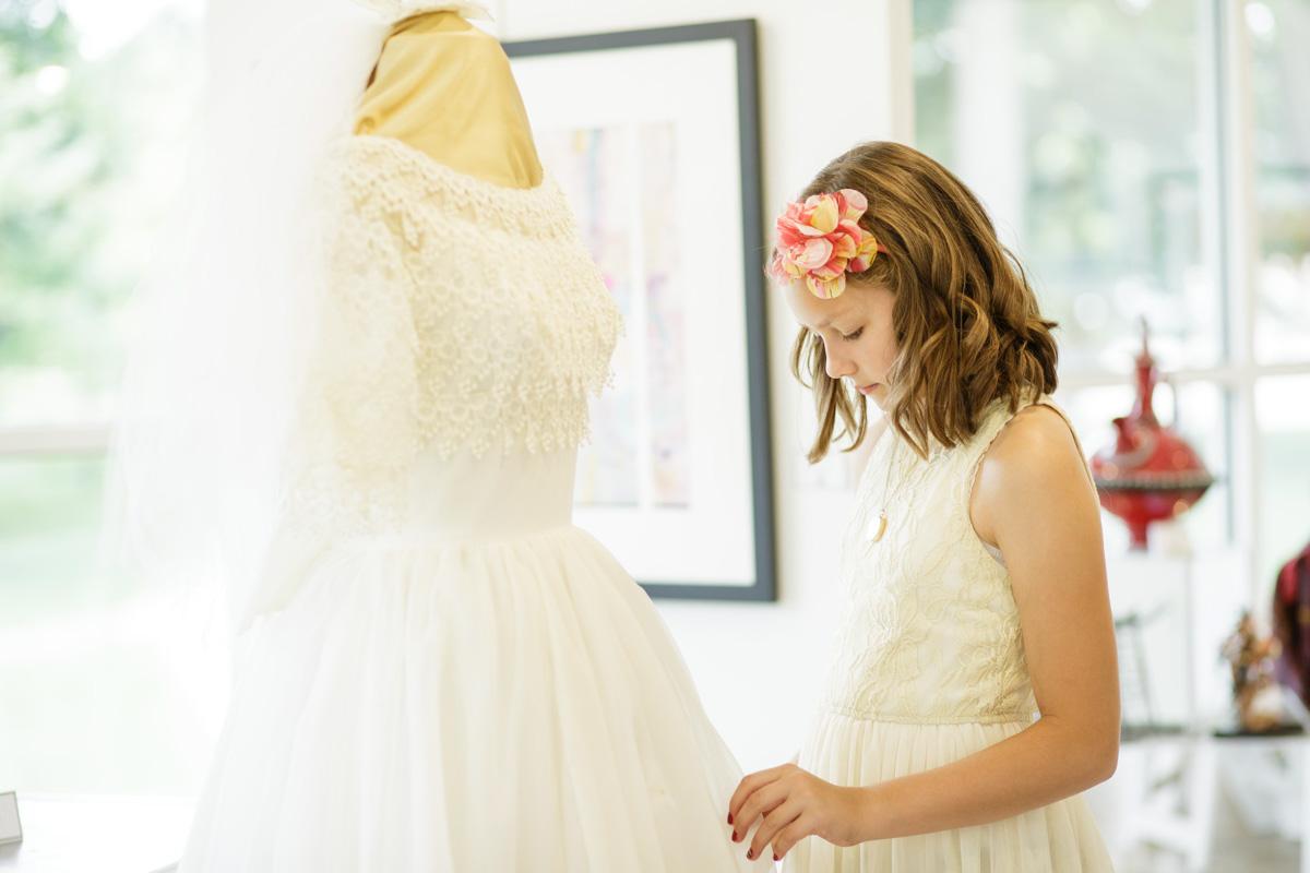 vintage wedding dress on display