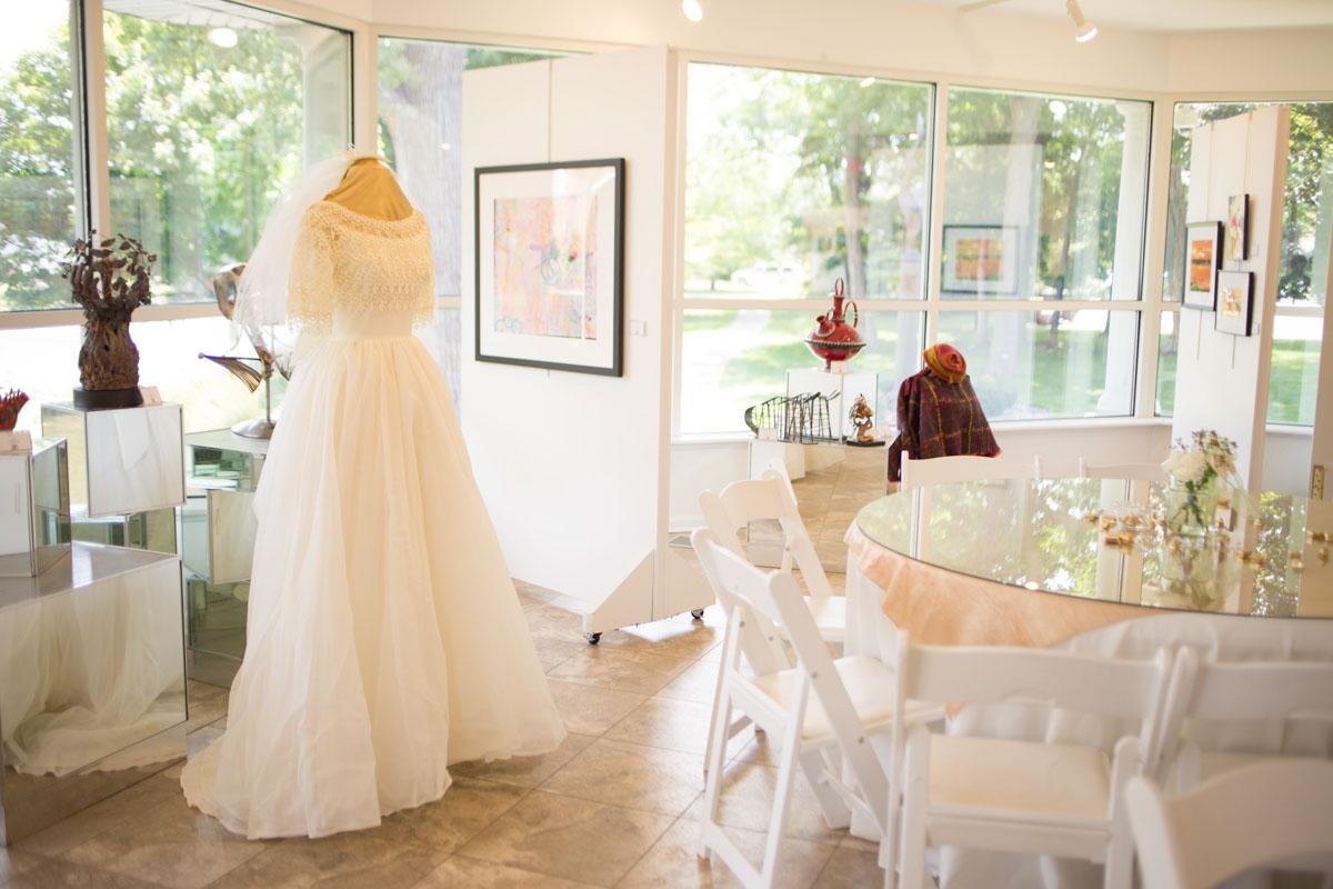 wedding dress display at anniversary party