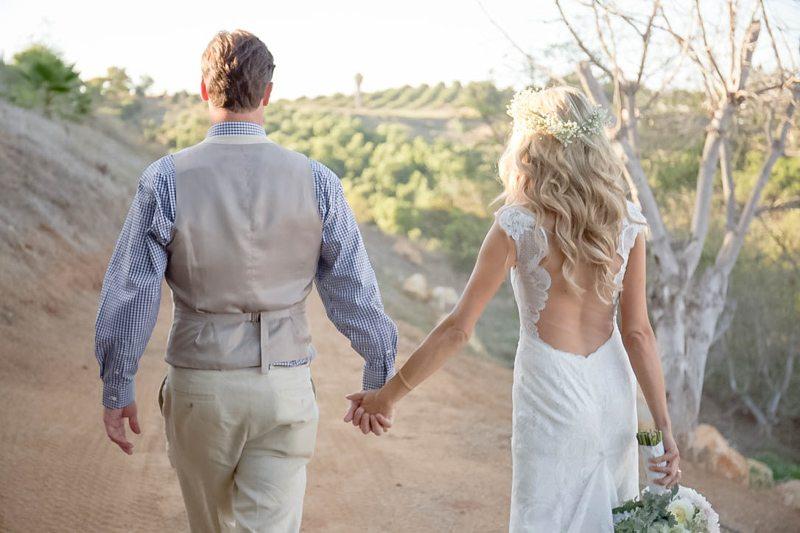 Bride & Groom Walking Dirt Path