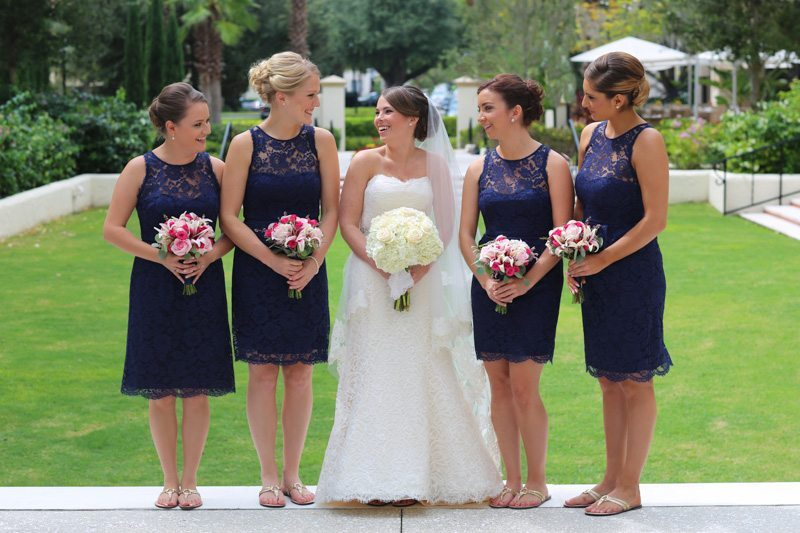 Bride Laughing With Bridemaids_