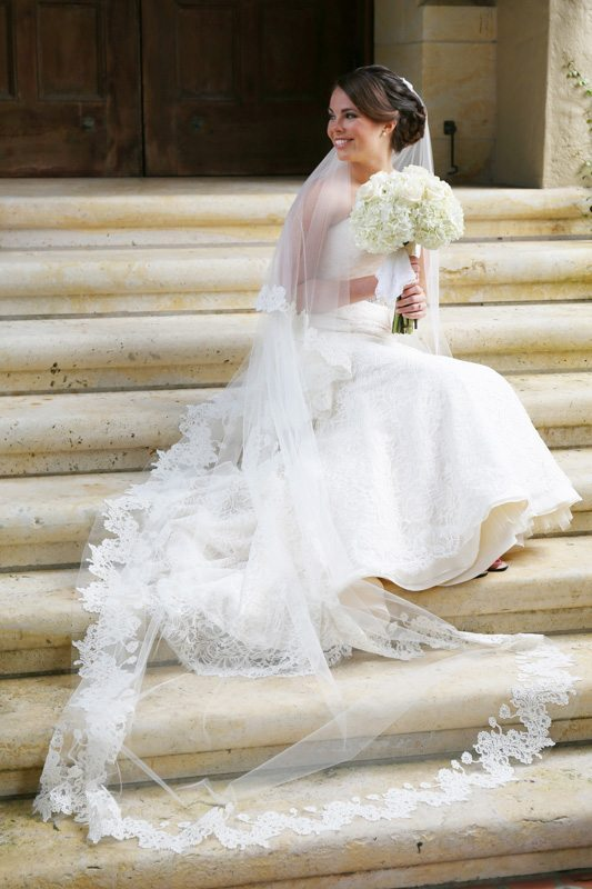 Bride Sitting on Steps