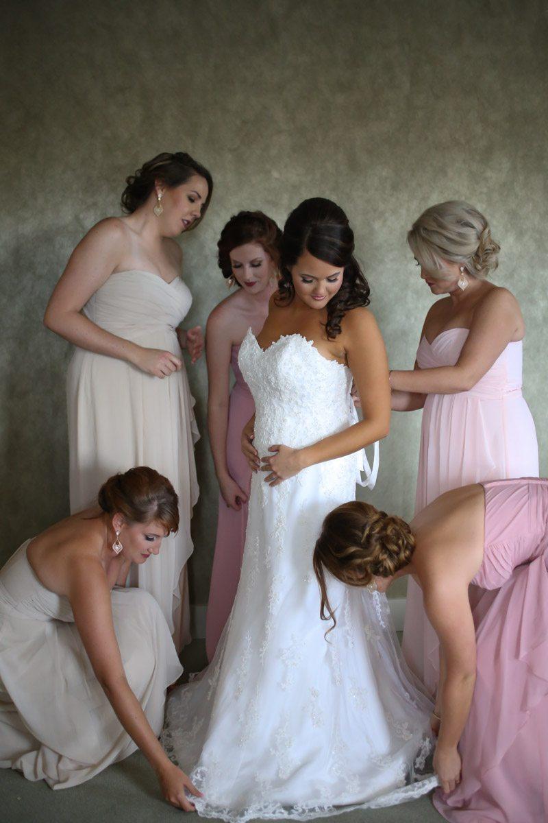 Bridesmaids Adjusting Gown