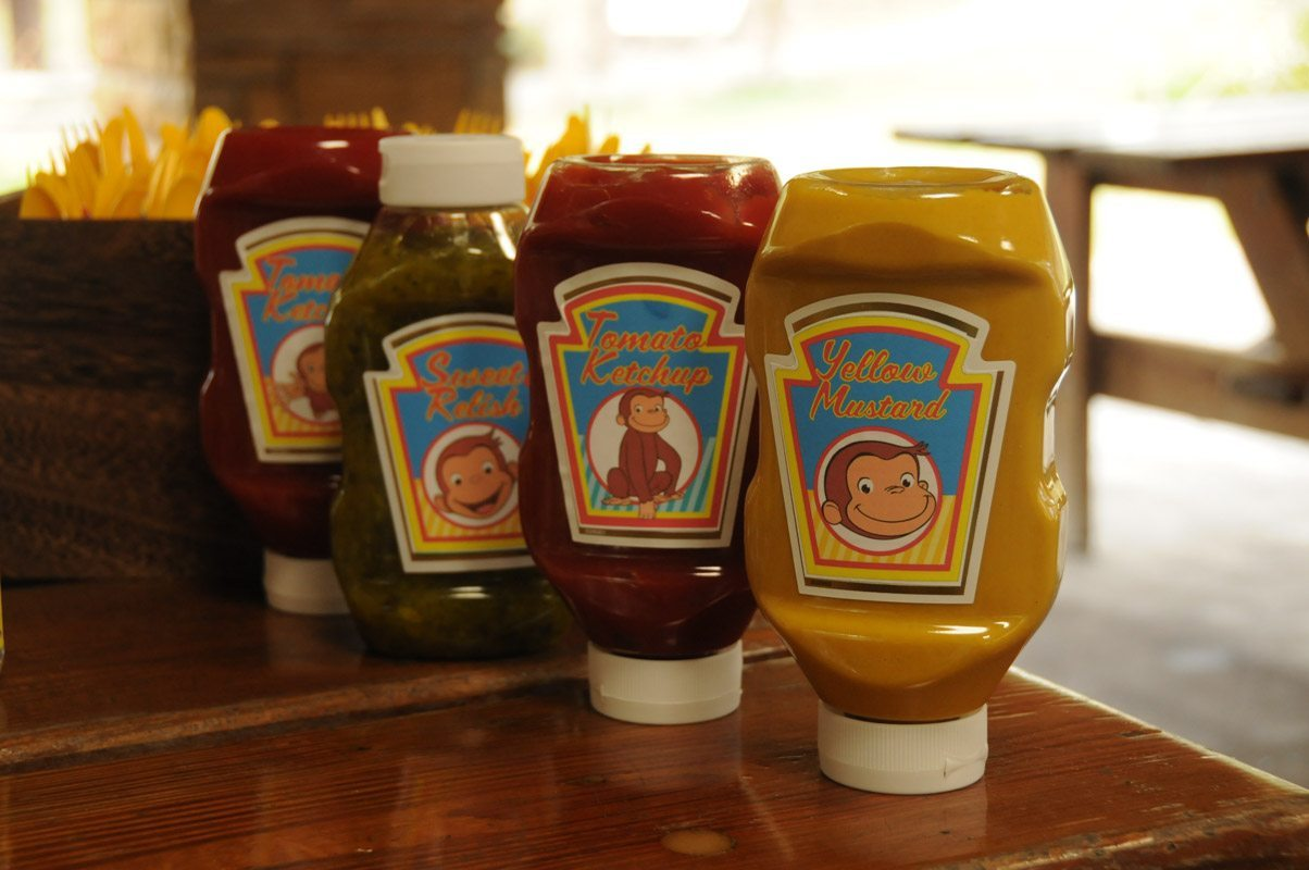 Ketchup & Mustard Monkey Bottles