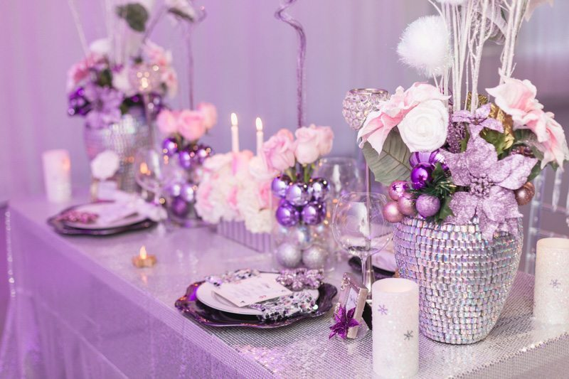 Purple Glam Reception Table_