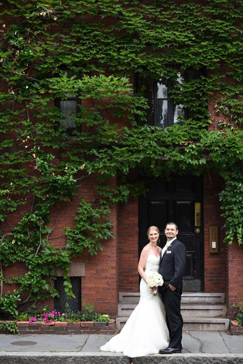bride and groom in boston MA