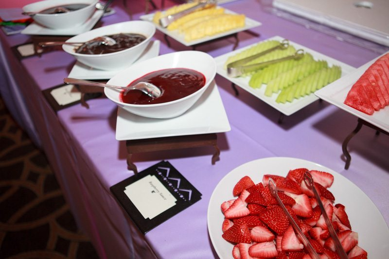 dessert table with fruit