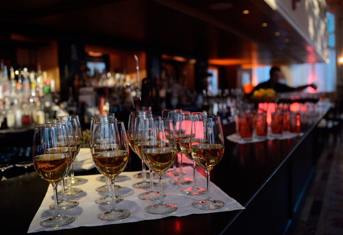 glasses of wine at bar mitzvah