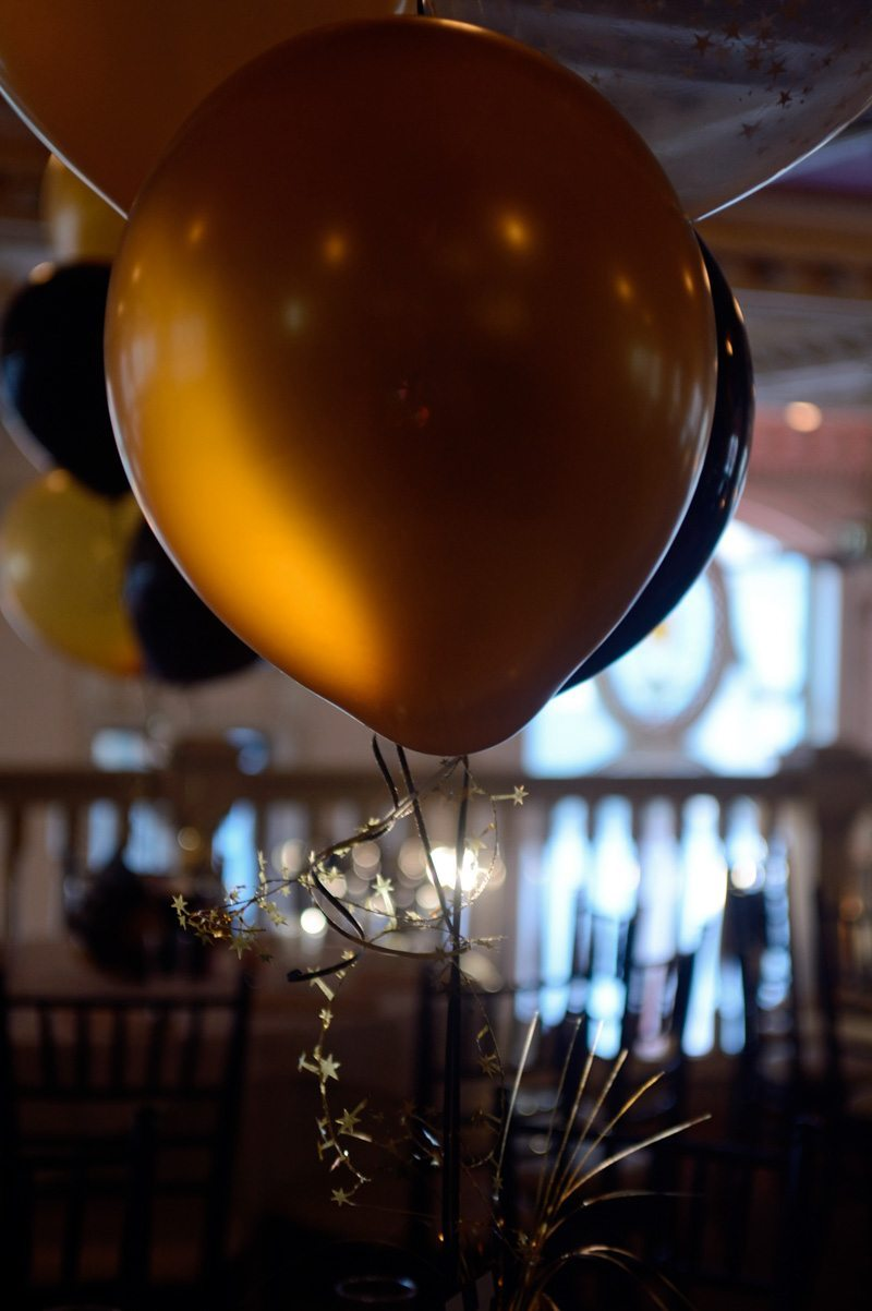 gold balloon at bar mitzvah