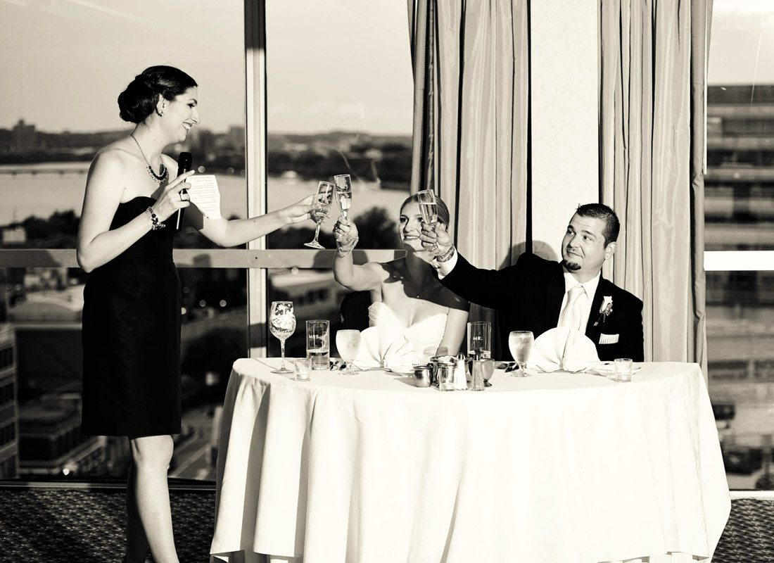 maid of honor giving toast at a wedding
