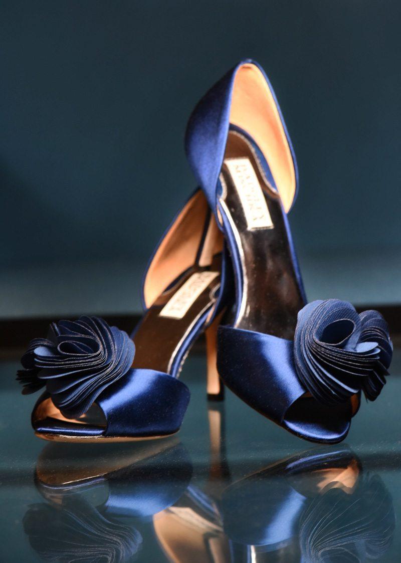 navy blue badgley mischka heels