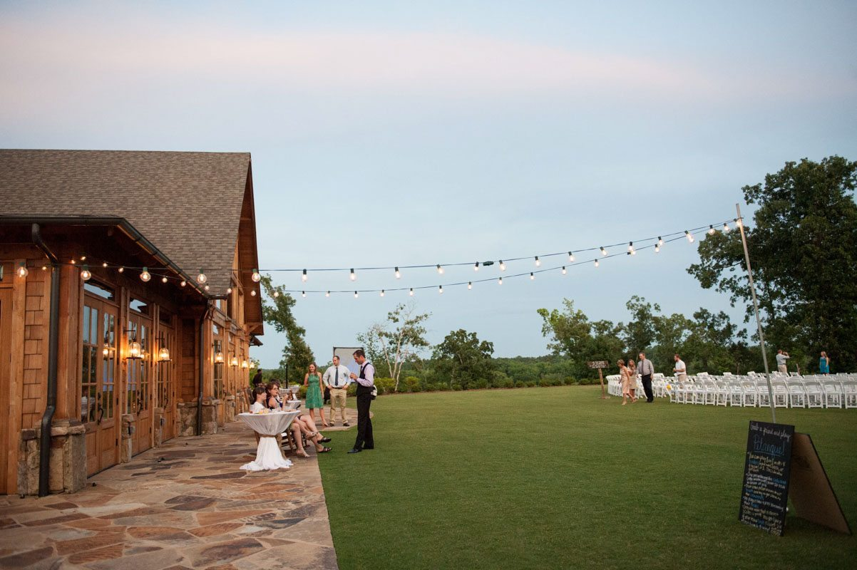 outdoor reception with twinkle lights