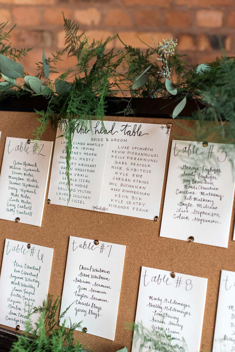rustic themed seating chart at a wedding