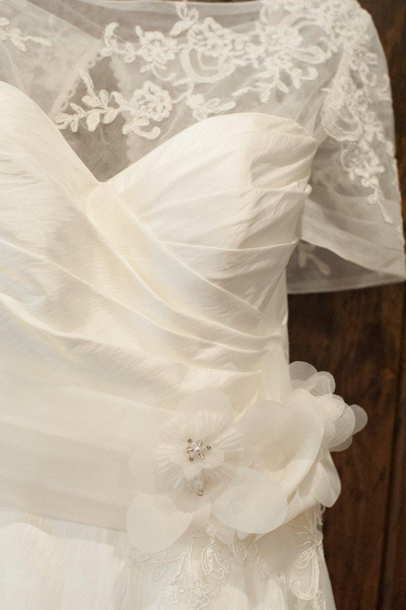 short sleeved white wedding dress