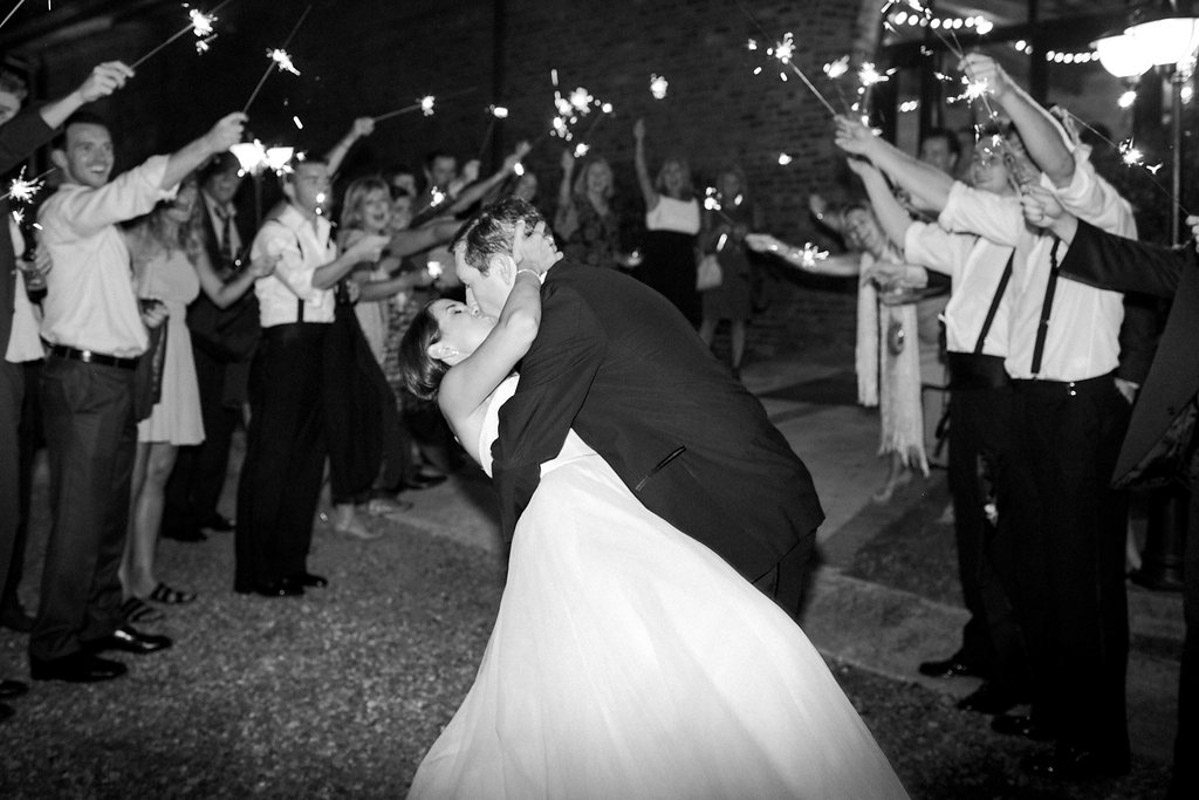 sparkler exit at a wedding