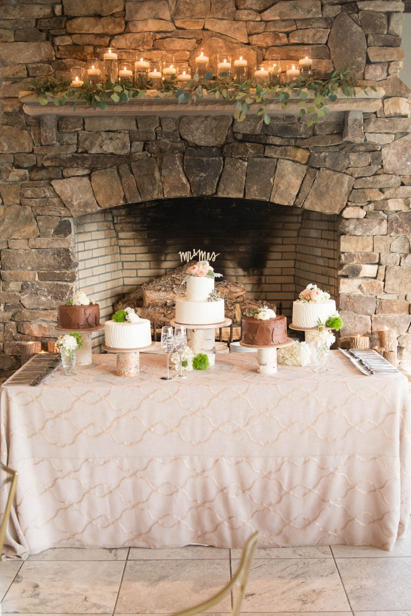 table of wedding cakes