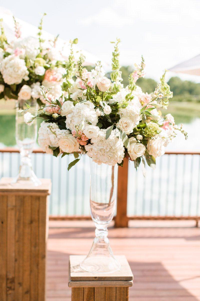 Altar hydrangea and peony floral arrangement
