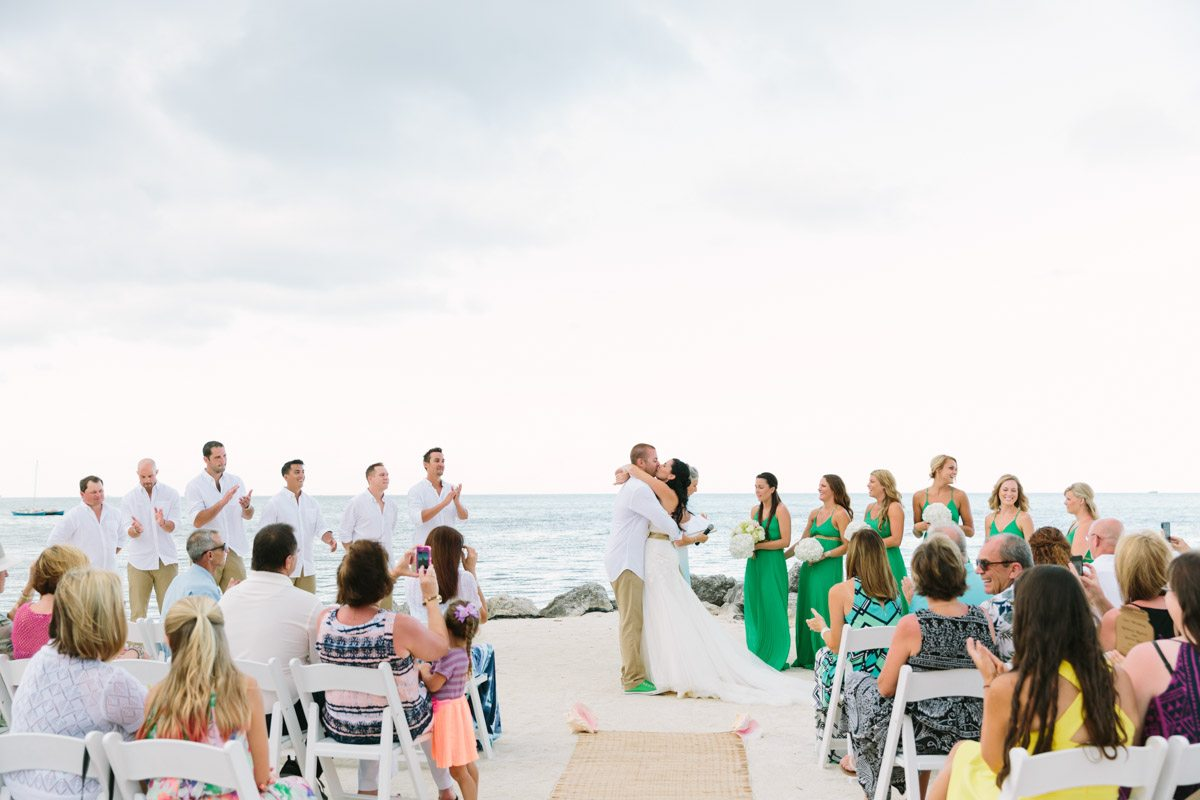 _Bride and Groom's First Kiss at The Islander Resort Beach Wedding