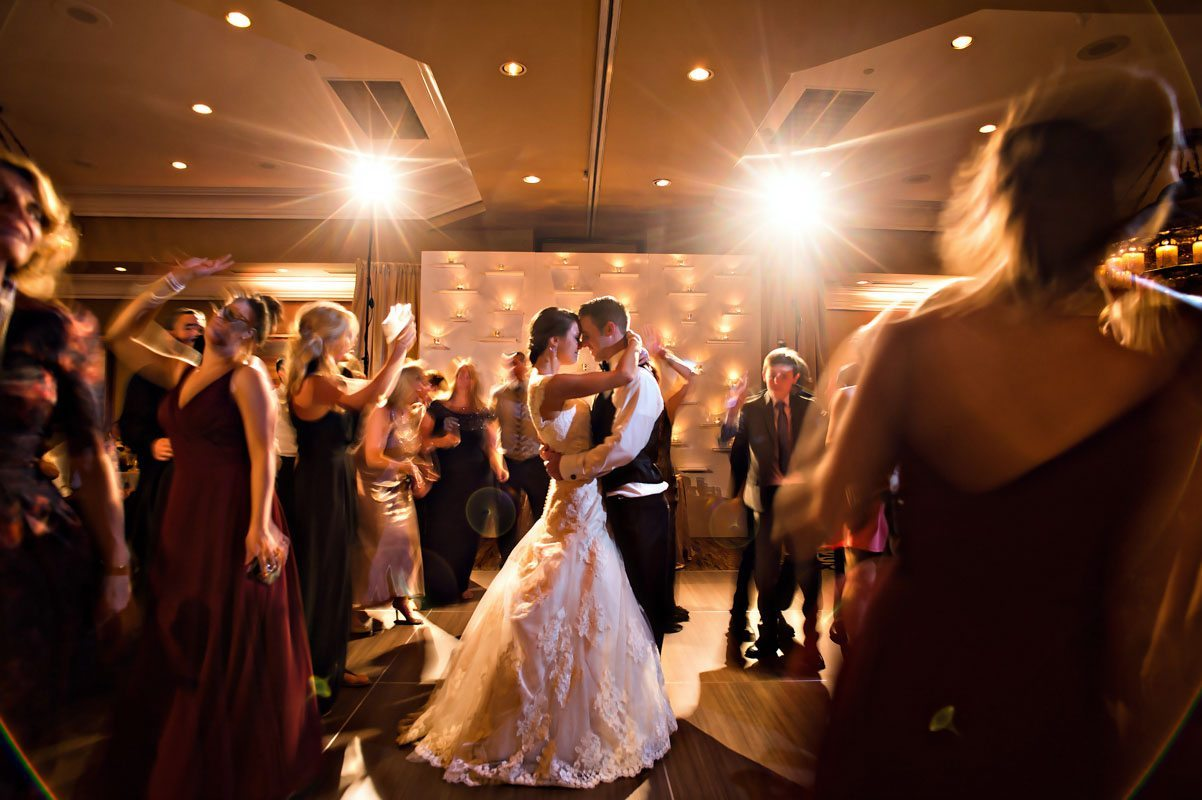 Bride and groom dancing in the crowd focus 11-14-15 Tara and Justin 93