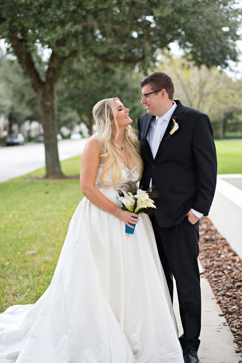 Bride and groom looking at each other outside on lawn Barry_Bailey_Kristen_Weaver_Photography_KWPSGBA1029