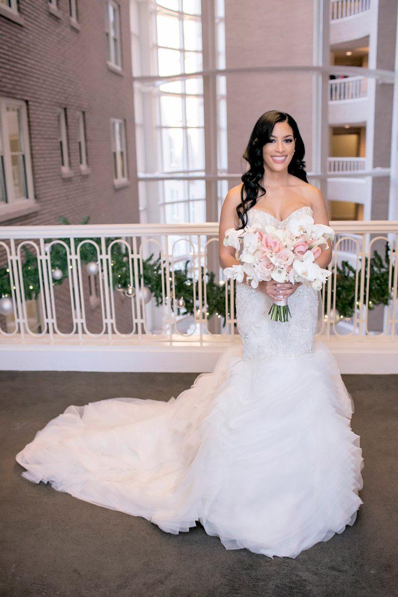 Bride longshot holding bouquet Adrienne&Keith_Wedd_0664