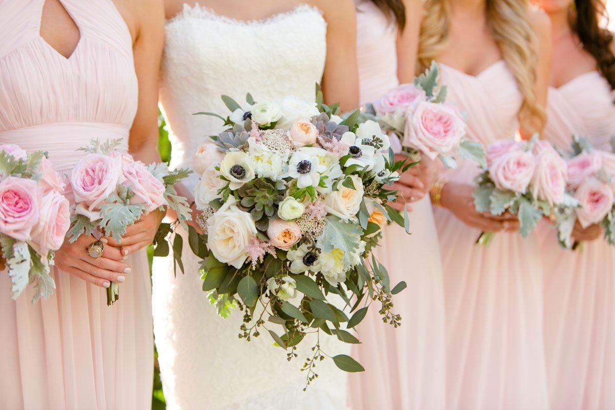 Bride lush and bridesmaid pink peony close up bouquets Rakow_Reynolds_Set_Free_Photography_LaPlayaFloridaWeddingSetFreePhotographyFloridaPhotographer1330