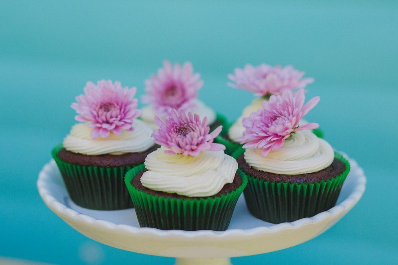 Chocolate Cupakes With Purple Flowers_