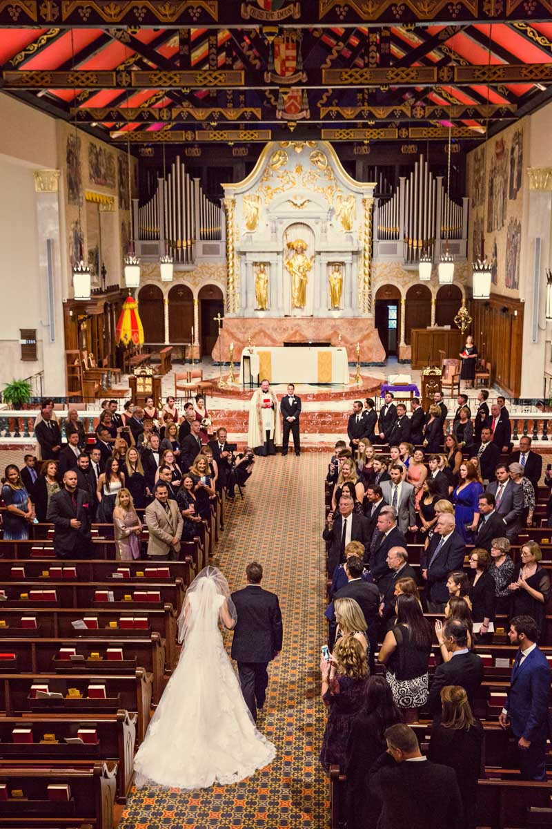Church wedding overview grand organ pipes and red celing as she walks down the aisle 11-14-15 Tara and Justin 36