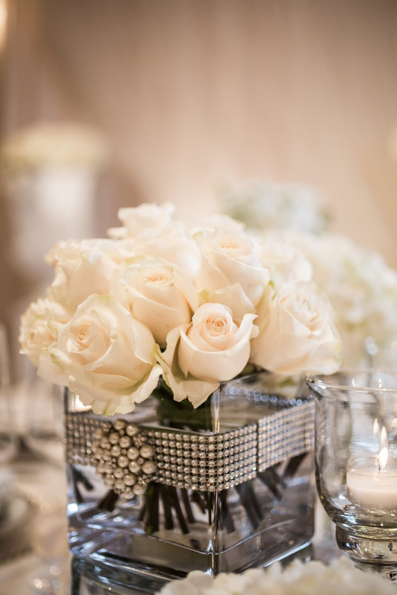 Close Up of Centerpiece - White Roses in Silver Beaded Vase Janet_Howard_Studio_WhiteWedding280