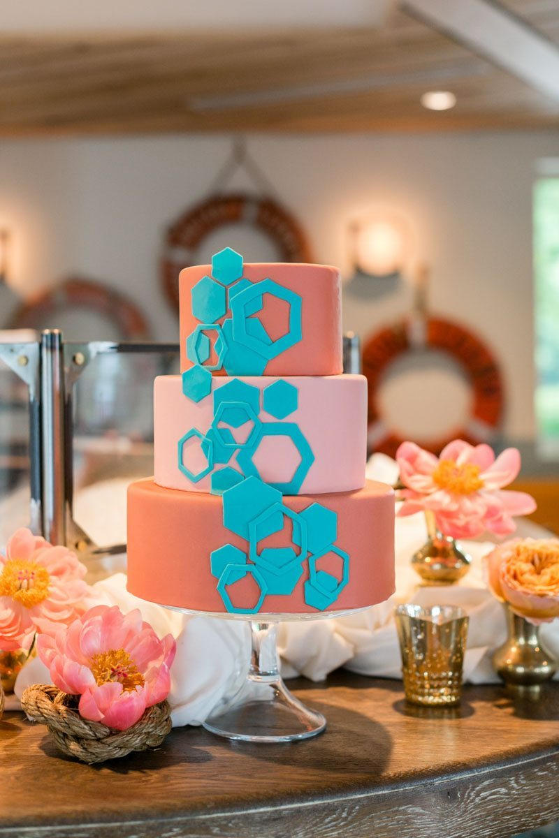 Coral Geometric Wedding Cake Preppy and Punchy Wedding Inspiration at The Optimist__JAshley_Photography_jashleyphotocom045