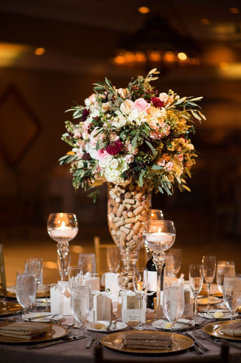 Cork filled vase table centerpiece 11-14-15 Tara and Justin 68