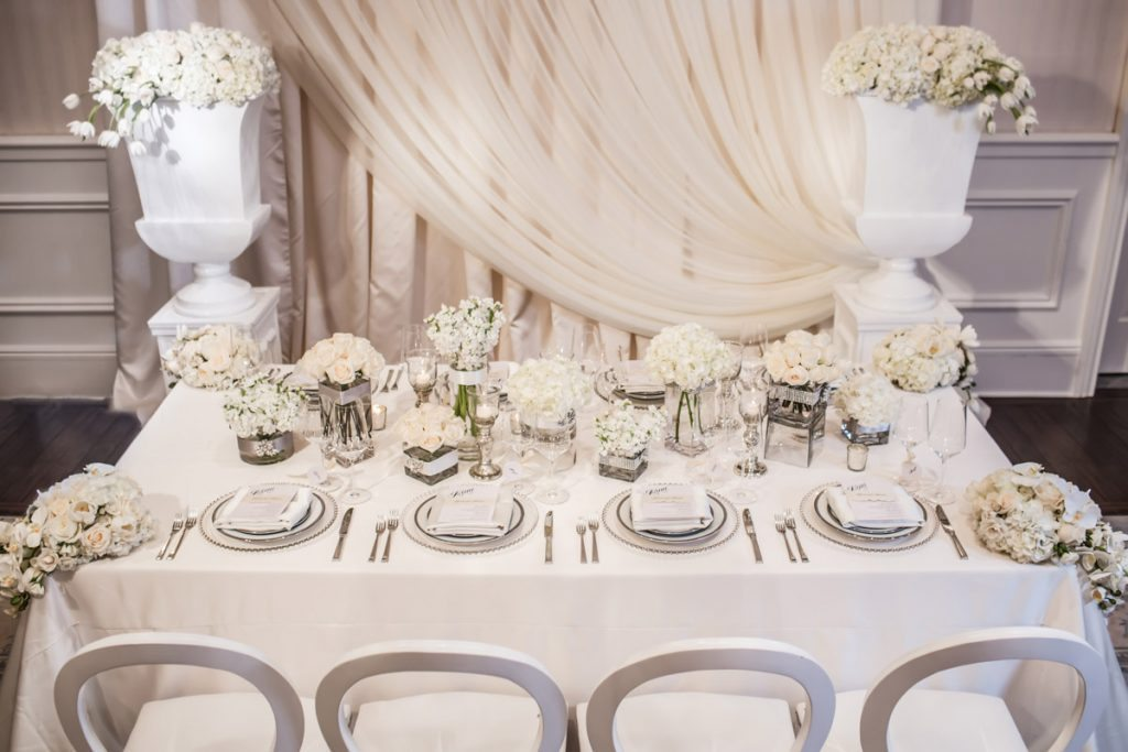 Downward Shot of Wedding Party Table Janet_Howard_Studio_WhiteWedding306