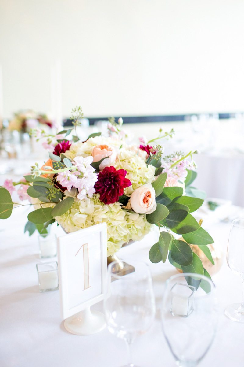 Flower table centerpiece with red peony pink rose greenery jadematthew_savannah_vics_20