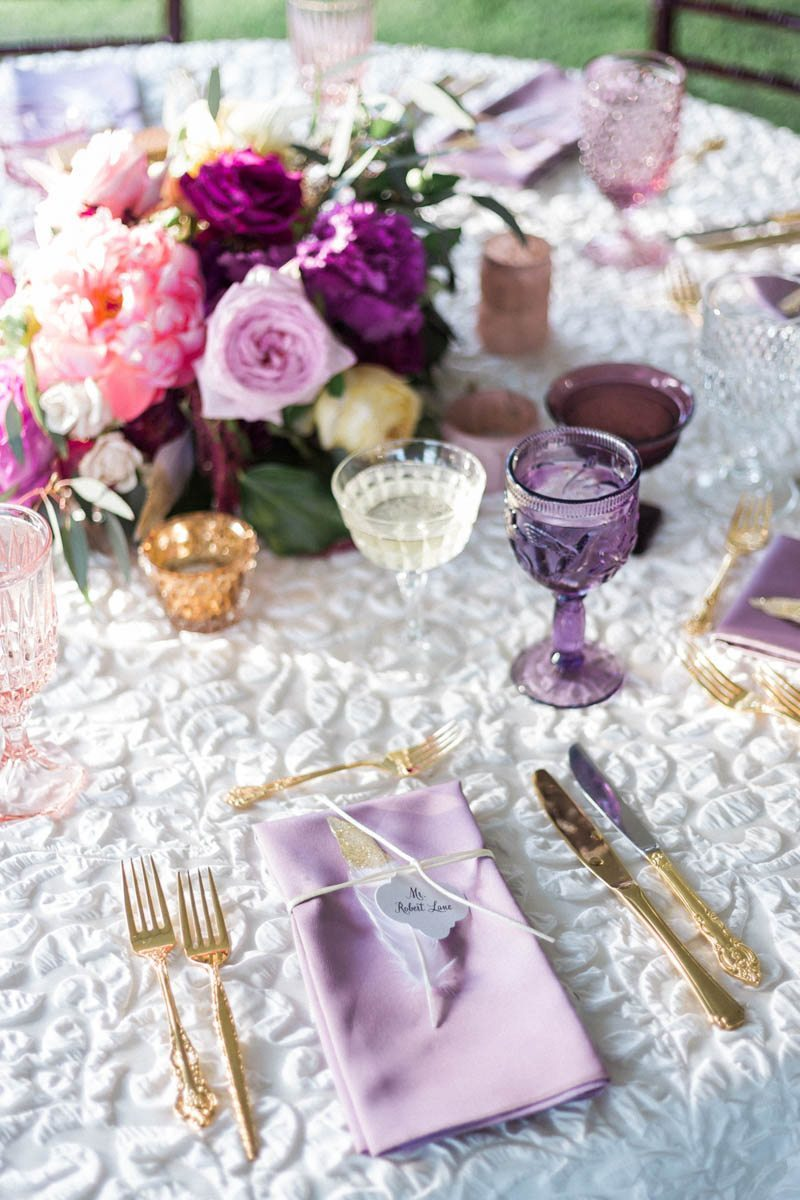 Gold silverware ruched white fabric peony and lisianthus centerpeice Mirtich_Scordos_Hunter_Ryan_Photo_sanibelislandcasaybelweddingphotographyhunterryanphoto6212