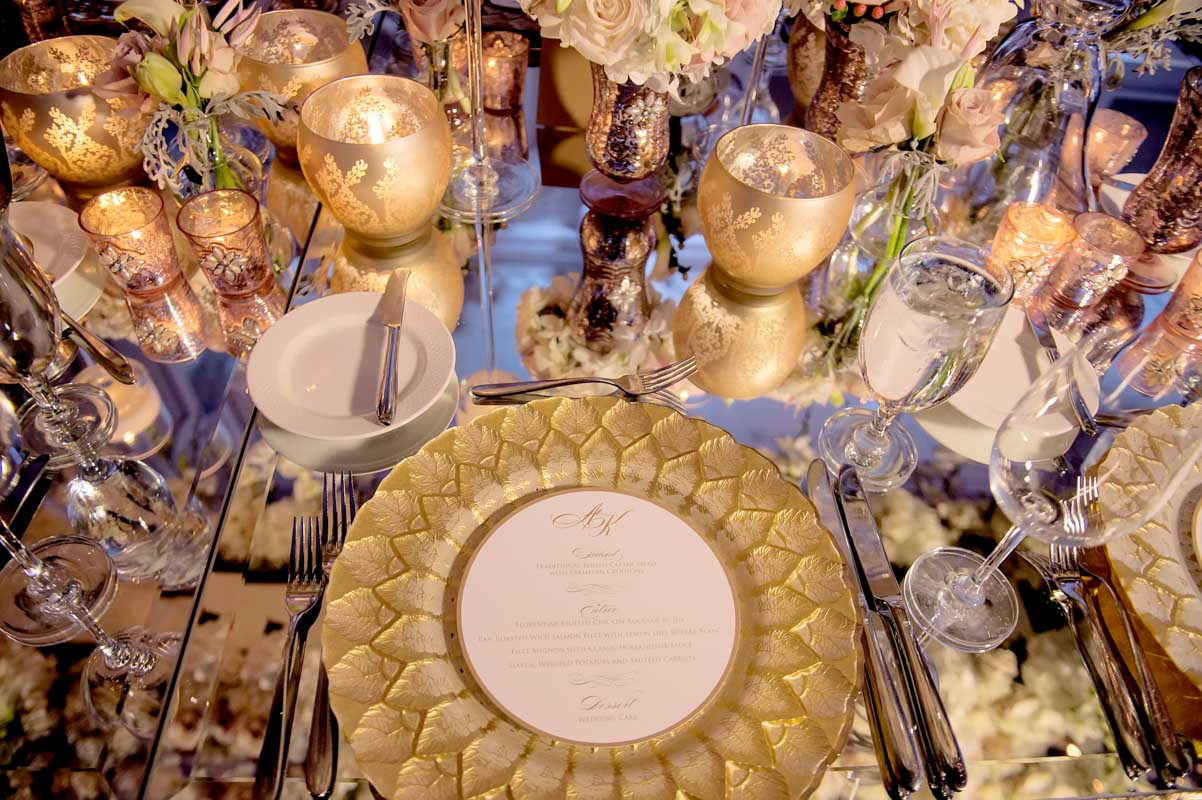 Gold sunflower detail table decor busy with silverware and glasses Adrienne&Keith_Wedd_0798
