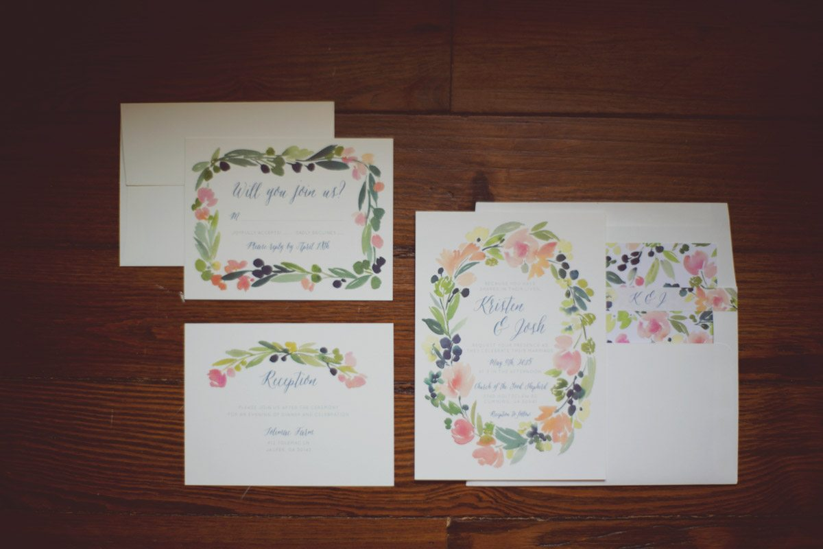 Invitations watercolor floraa; wreath green and orange Ley_Green_Kelly_Anne_Photography_05089300