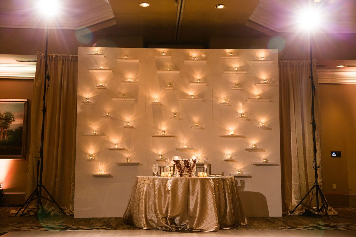 Light adorned head table with glitter gold table runner 11-14-15 Tara and Justin 66